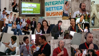 Dalla sessione ToscanaIN Internet Better Business organizzata da Fondazione Sistema Toscana collage di foto powered by Exout e T-shirt ToscanaIN powered by Colorised
